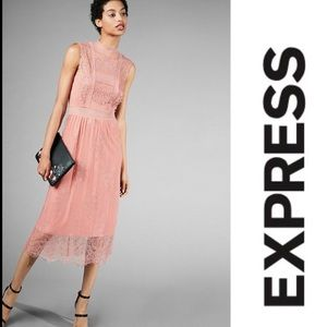 Express Lace Mock Neck Midi Dress Blush Pink XL